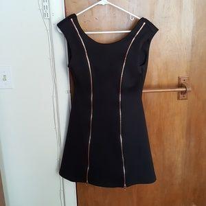 Black mini dress with zipper detail